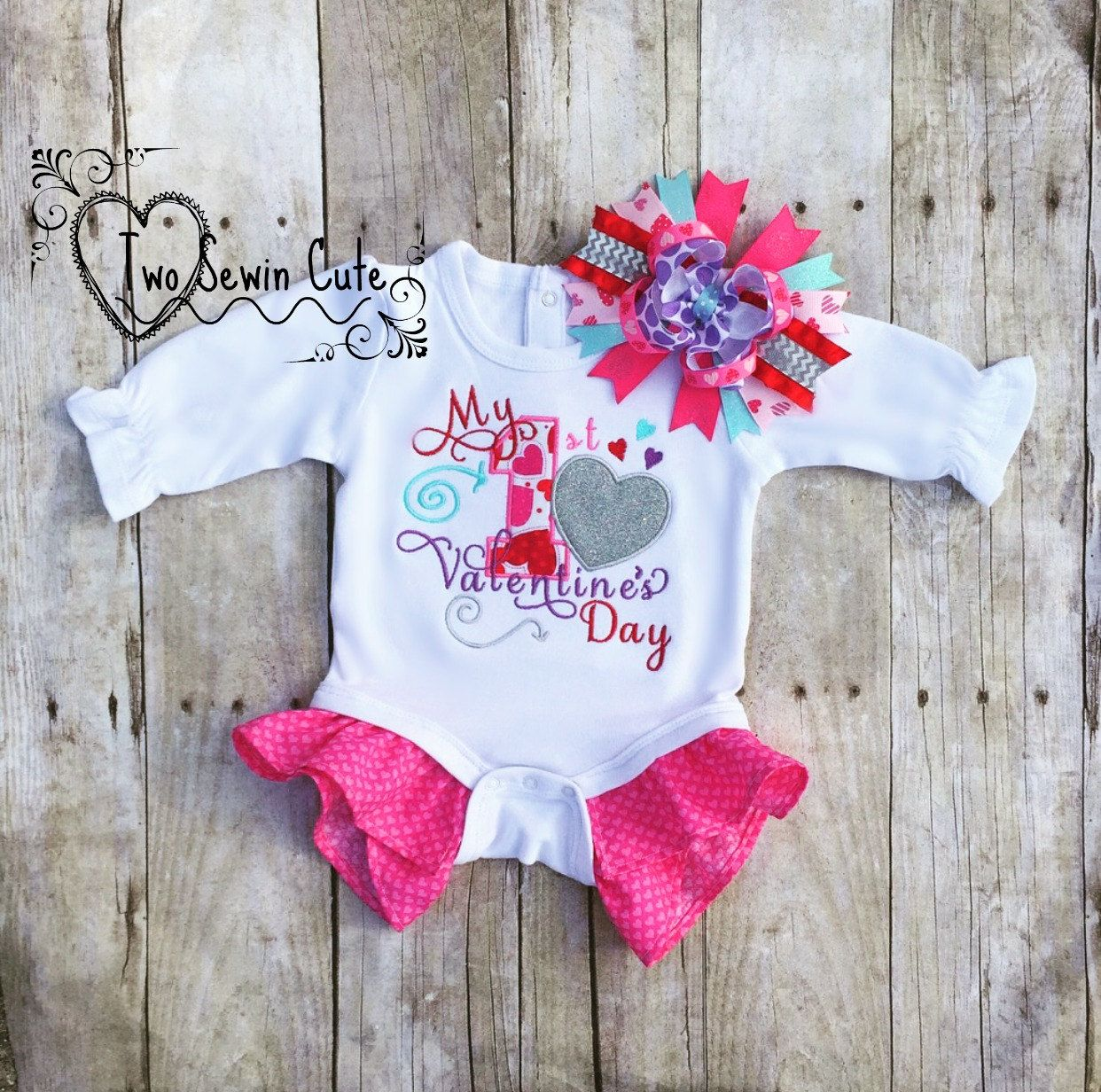 My First Valentine's Day Bodysuit, Valentine's Day Shirt,My 1st Valentine's Day Shirt, Baby's First Valentine's Day, READY TO SHIP 0-3 m by TwoSewinCute on Etsy