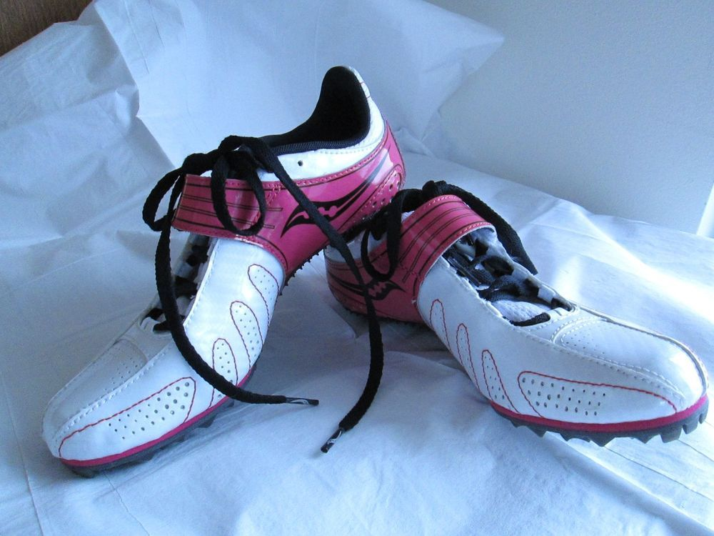 Saucony Spitfire Pink Black White Womens Sprint Track Running Spikes Shoes 7 #Saucony #Cleats