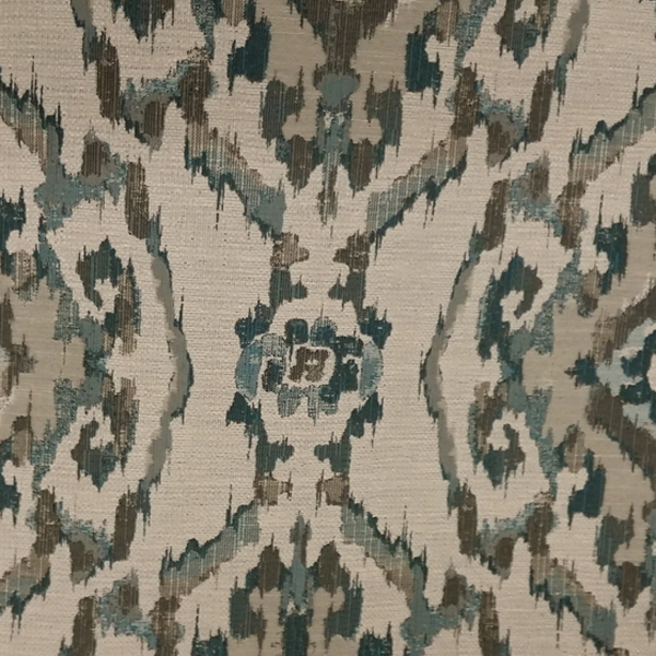 This Is A Blue Grey And Natural Woven Ikat Design Upholstery