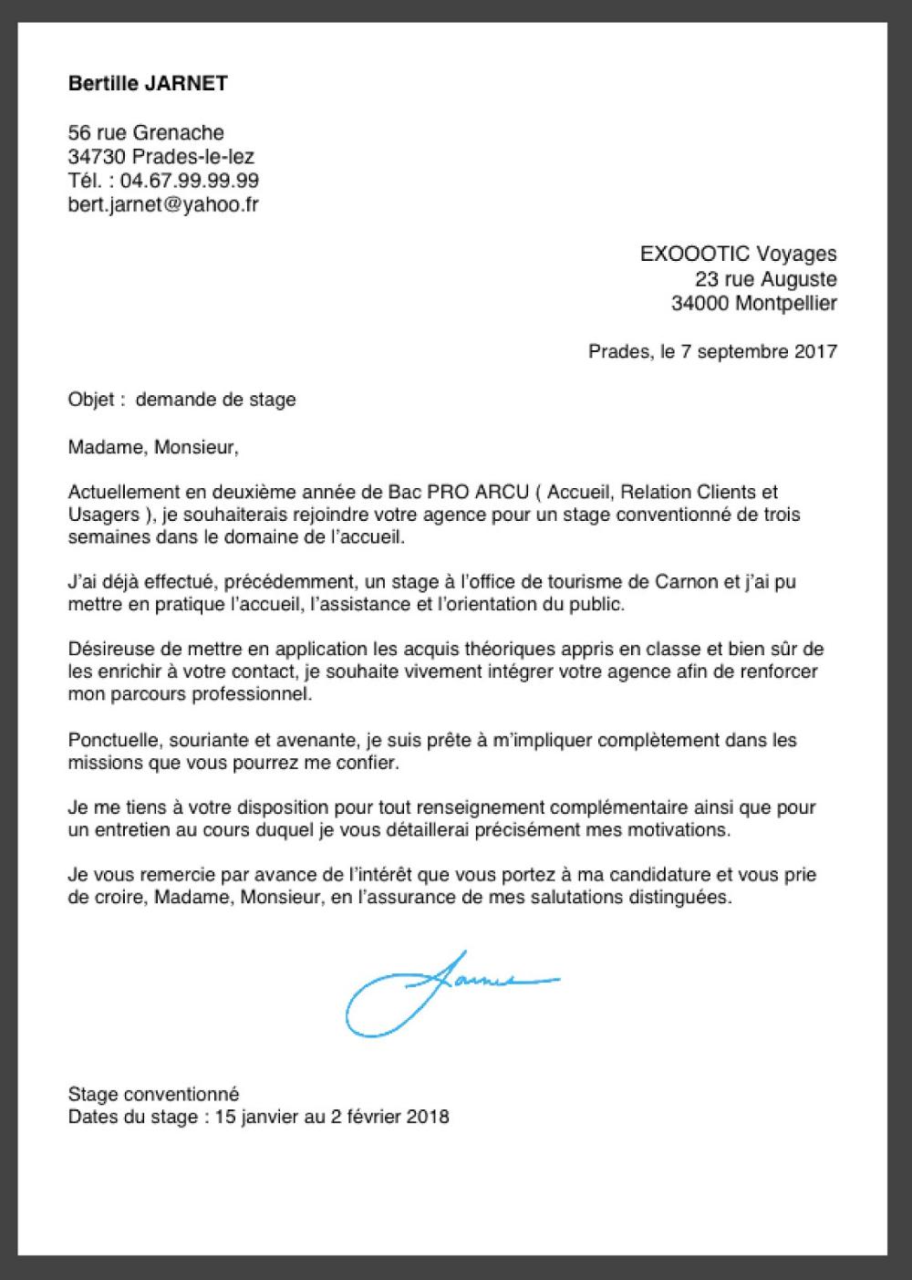 lettre de demande de stage en entreprise Recherche