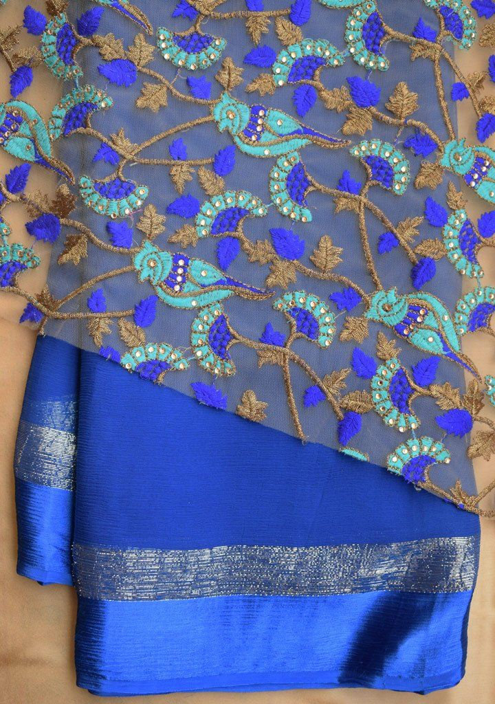 010a8ad4dc649e Blue saree with net blouse piece   Coloring Pages Insp: India and ...