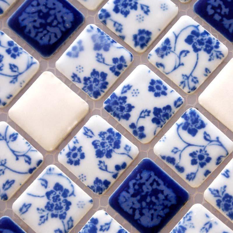 Porcelain Tile Shower White And Blue Square Mosaic Floor Tiling Pattern Bathroom Wall Stickers White Ceramic Tiles White Tile Backsplash Mosaic Flooring
