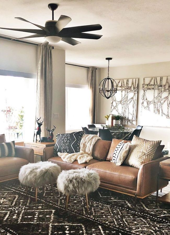 Living Room, modern boho, leather, tribal, bohemian ...