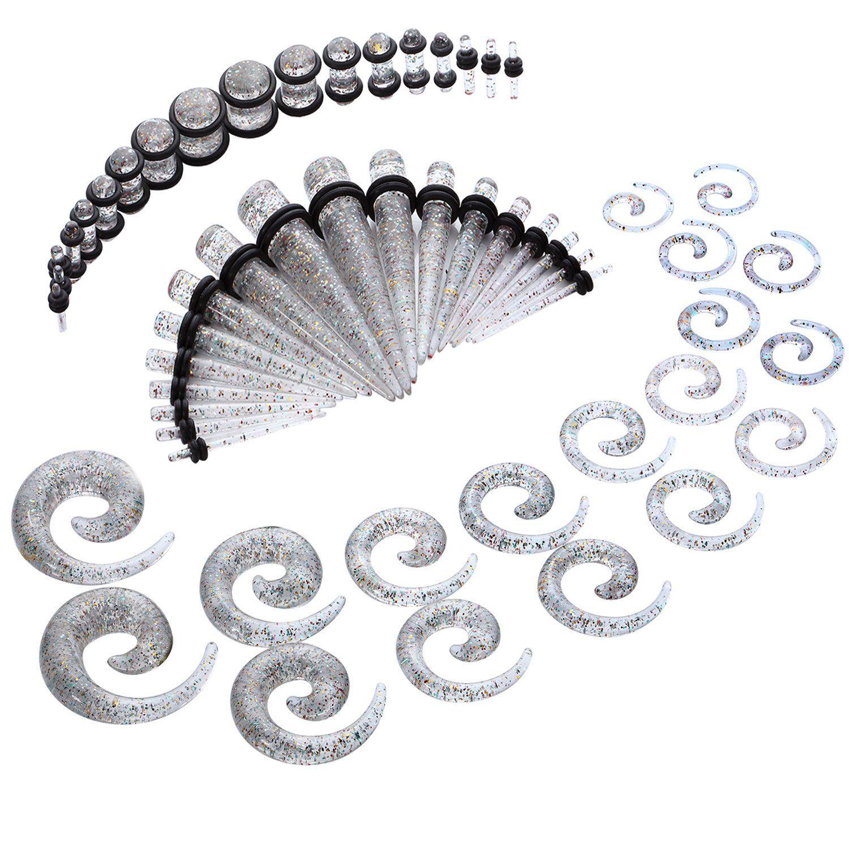 54pc Gauges Kit Ear Stretching 14g 00g Glitter Spiral