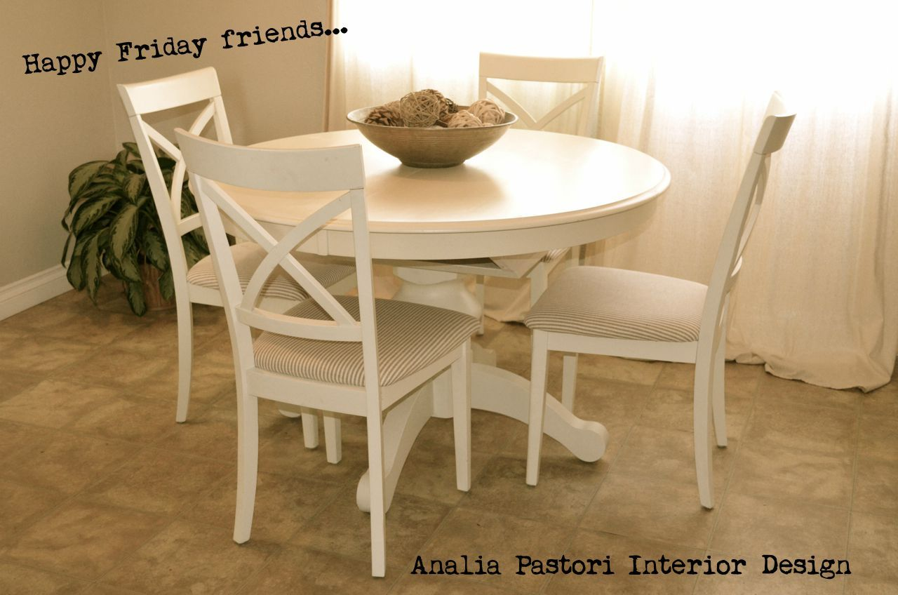 farmhouse style distressed antique white round table and dining chairs by analia pastori. Black Bedroom Furniture Sets. Home Design Ideas