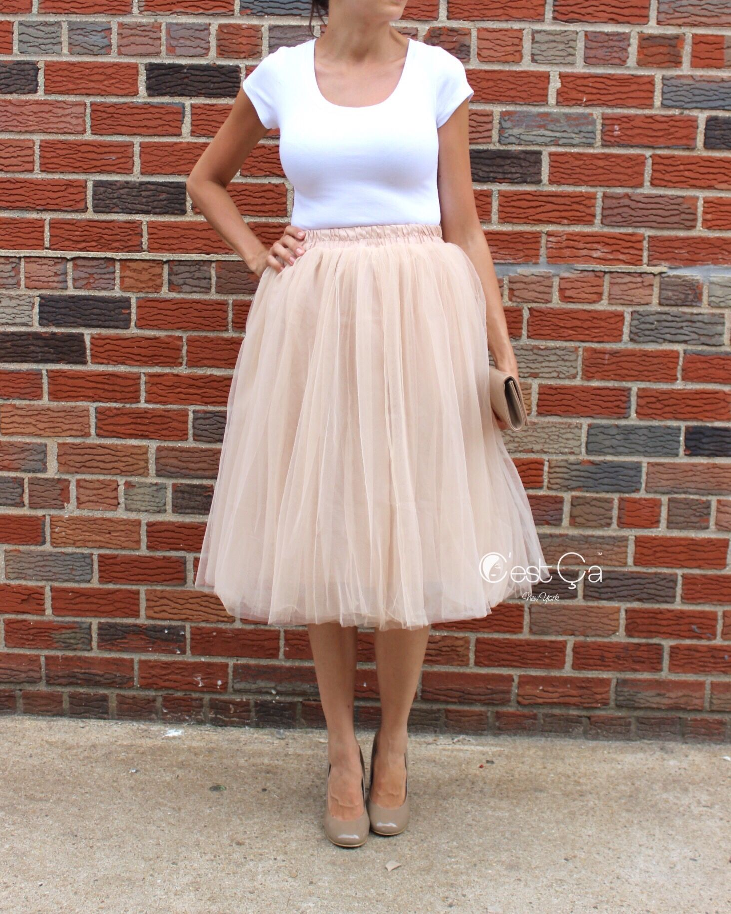 f540487b1f Semi-puffy pale beige tulle skirt. 6 layers of fine semi-hard tulle. Lined.  Petite midi length. Designed in New York. Handmade. Available in other  colors.
