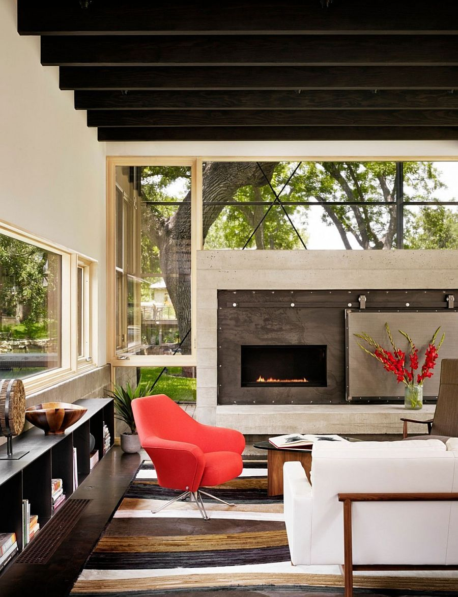 Decor and accessories bring bright pops of color to the spacious texas home
