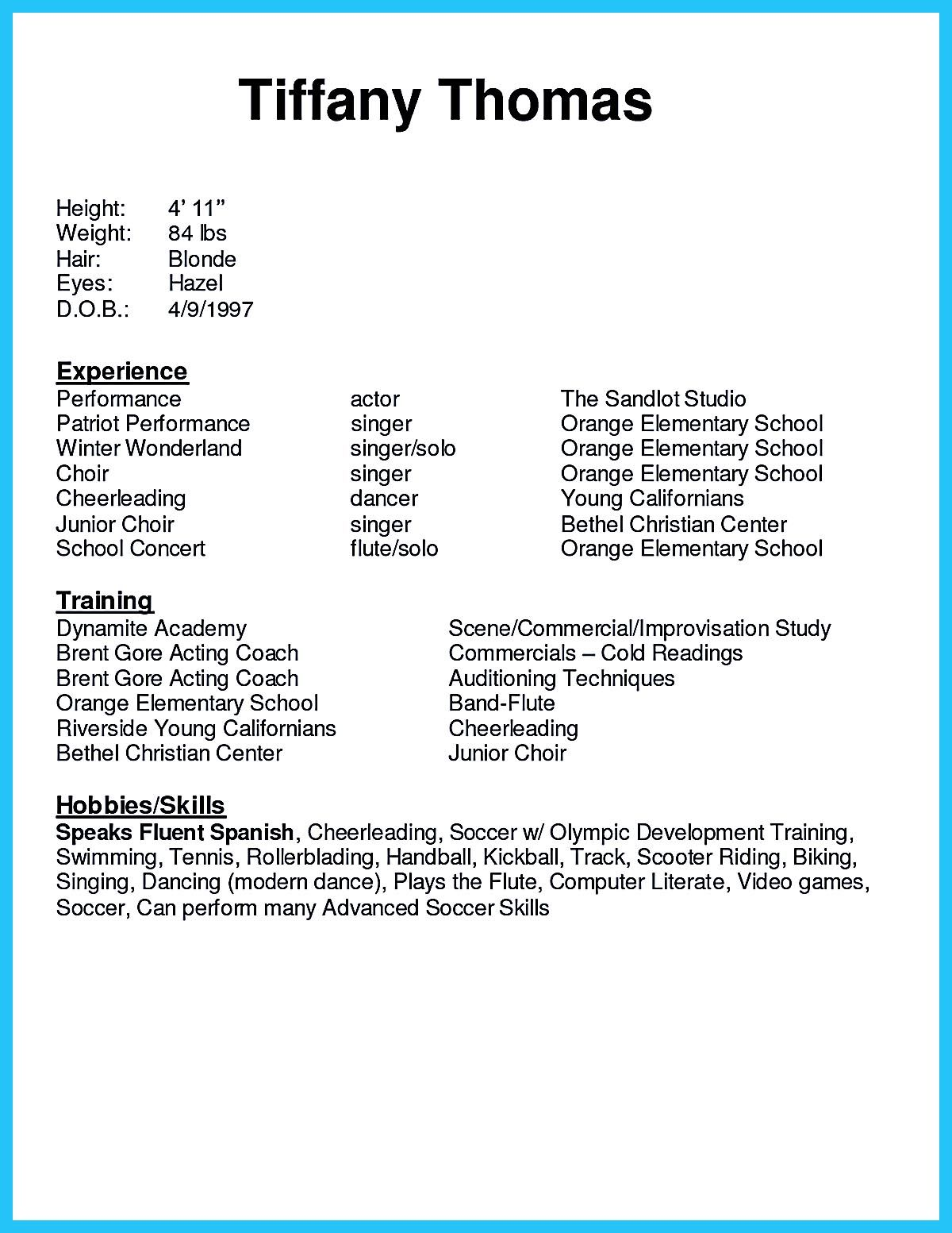 Acting Resume Sample Presents Your Skills And Strengths In Details The Acting Resume Objective S Acting Resume Cover Letter For Resume Acting Resume Template