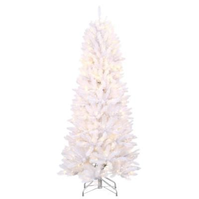 Home Accents Holiday 6 Ft Pre Lit White Fraser Artificial Christmas Tree With Warm White And Multi Color Changing Led Lights Color Changing Led Pre Lit Christmas Tree Lighting