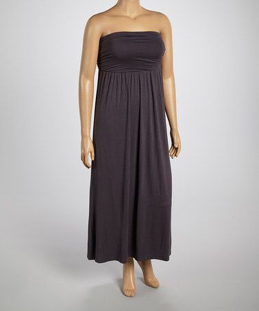 Look what I found on #zulily! Charcoal Ruched Maxi Dress - Plus #zulilyfinds