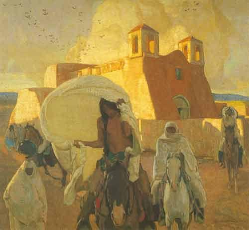 Ernest L. Blumenschein,  Church at Ranchos de Taos Fine Art Reproduction Oil Painting