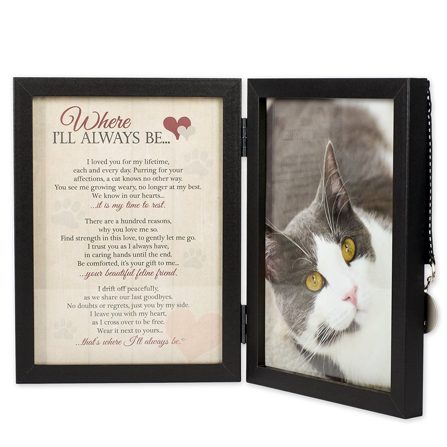 Where I\'ll Always Be Cat Memorial 5x7 Picture Frame with Pet Tag ...