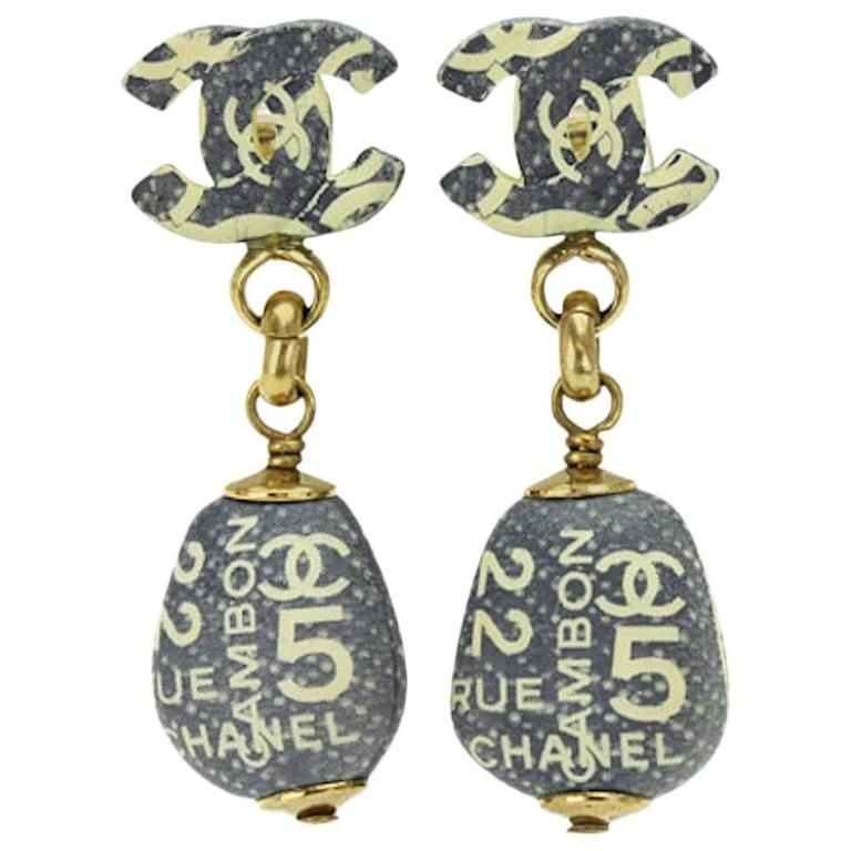 Chanel Vintage Rue Cambon No 5 Ivory Dangle Drop Evening Charm Earrings 1050 From A Unique Collection Of Chandelier At