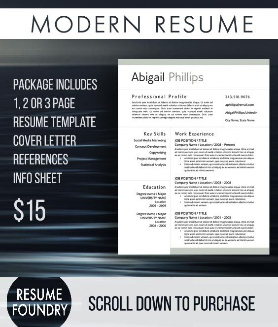 Shop at Etsy and Instantly Download this Resume Template Open in