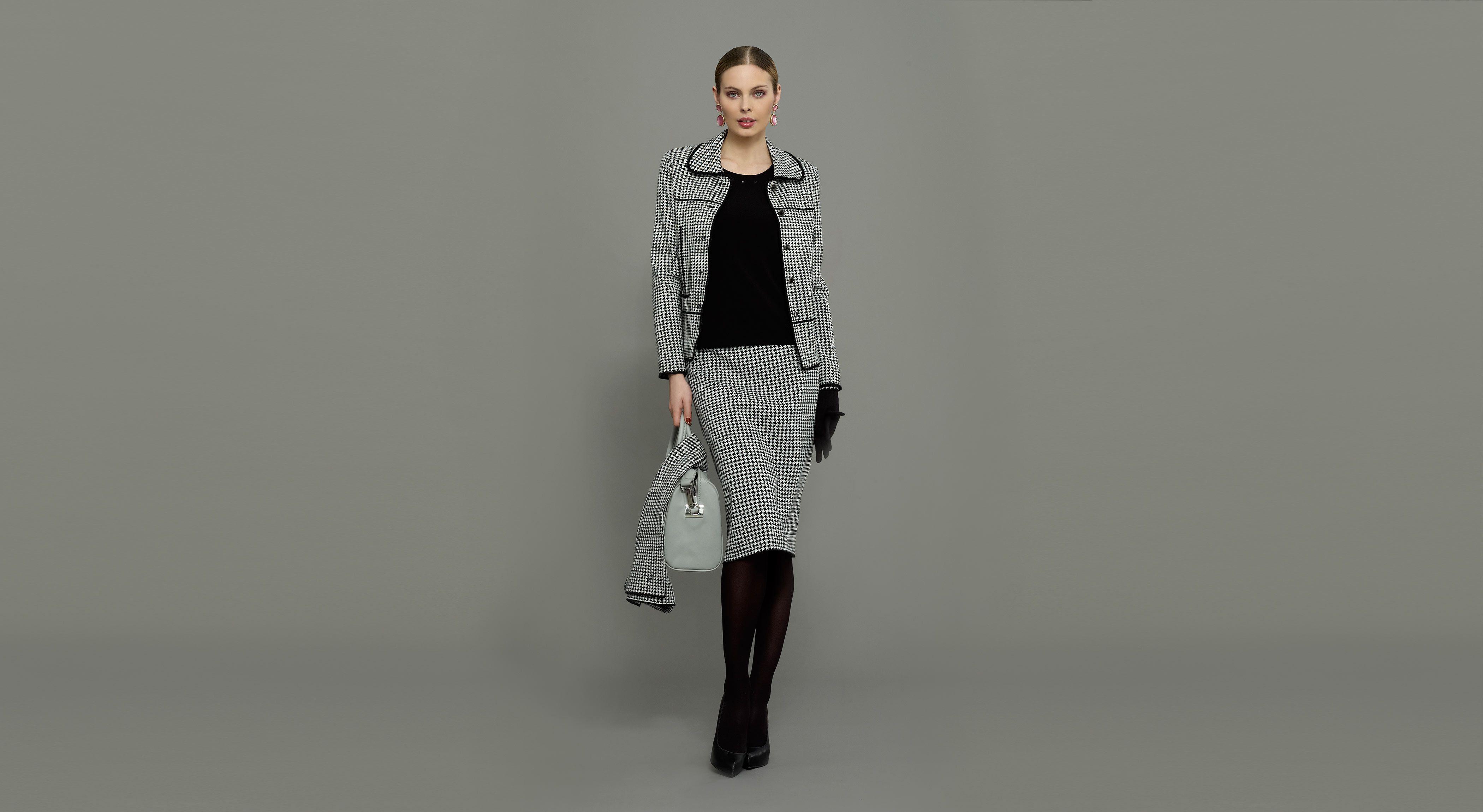 Traje chaqueta de punto de lana lavable de jacquard de pata de gallo, bufanda y guantes a conjunto. #Naulover #Moda #ModaMujer #Fashion