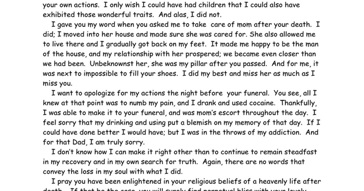 Recovery   Amends 9th Step Emotional Amends Letter Example