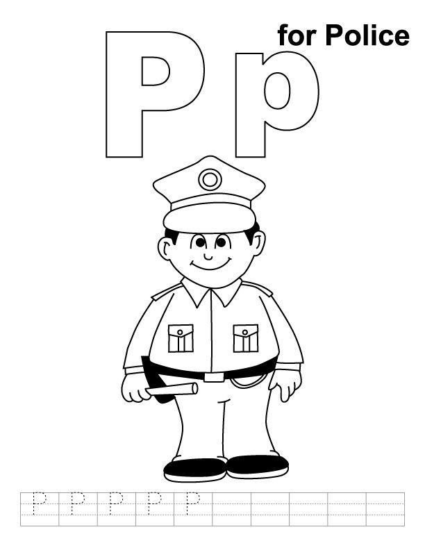 P Niin Kuin Poliisi Alphabet Coloring Pages People Coloring