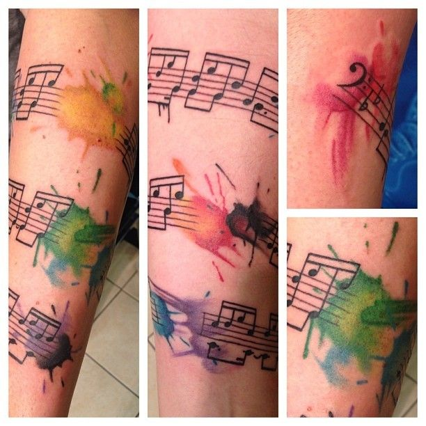 Stylish music watercolor tattoo on forearm for girls