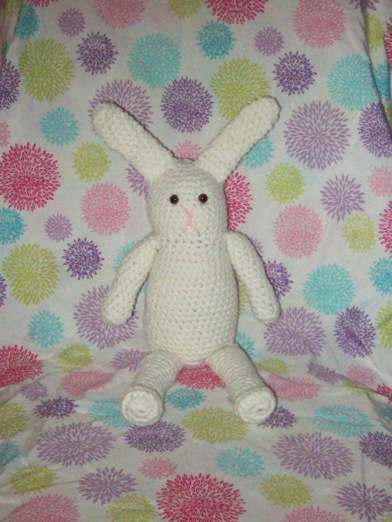 Bunny Rabbit White Amigurumi Rabbit Easter Bunny by amydscrochet