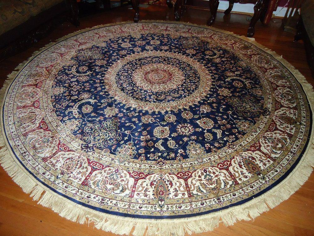 Persian Silk Rugs 8 Round Rugs Navy Silk Rug Circle Floor Carpet