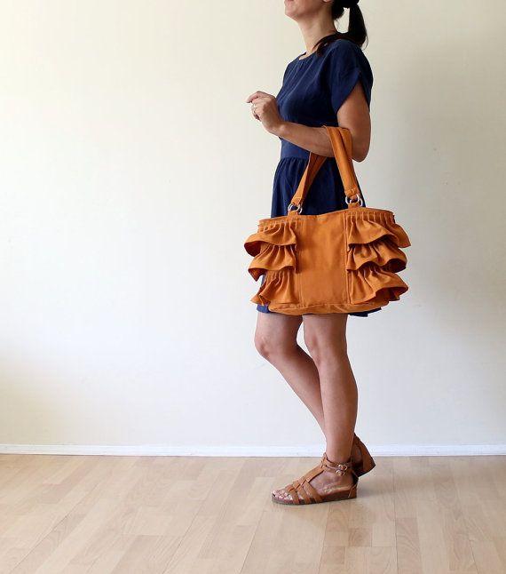 I adore her purses! Flamenco in Dark Mustard / Canvas Ruffles Bag / High by bayanhippo, $42.00