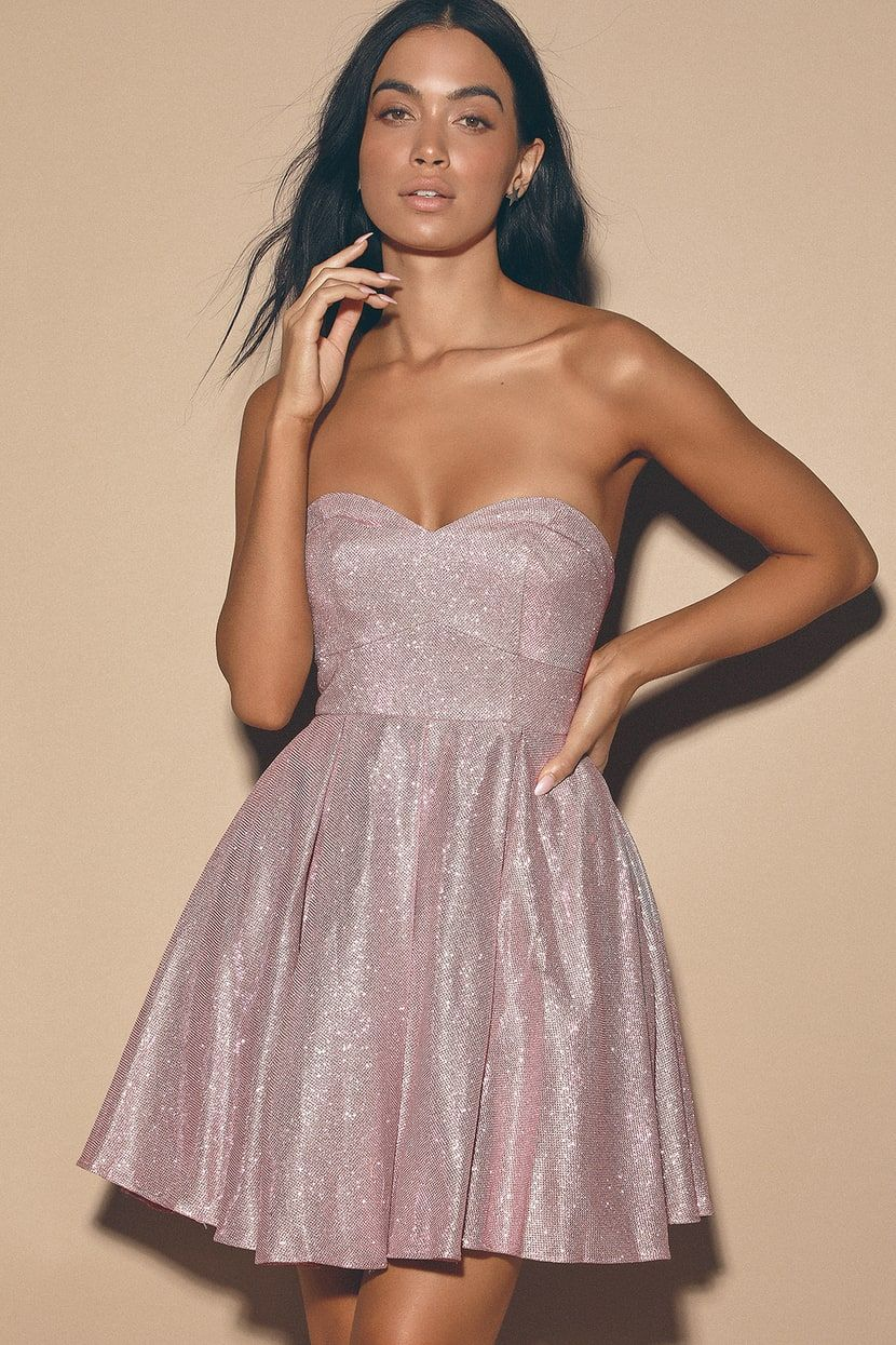 My Party Mauve Pink Sparkly Strapless Lace Up Skater Dress In 2020 Pink Sparkly Dress Sparkly Outfits Sparkly Dress [ 1245 x 830 Pixel ]