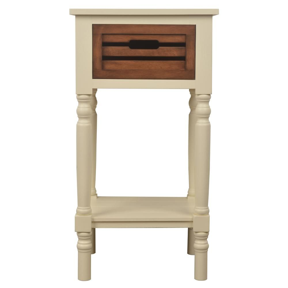 Decor Therapy Melody White And Honey Oak 1 Drawer End Table Fr6331