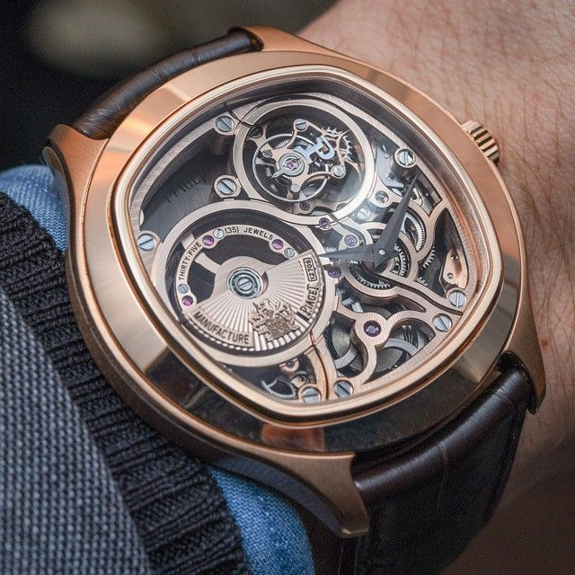 676d1625880 Piaget Emperador cushion-shaped watch in pink gold. Manufacture Piaget  1270S ultra-thin self-winding skeleton tourbillon movement.