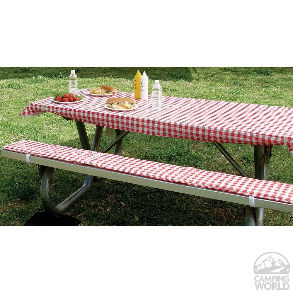 Table Cover U0026 Padded Bench Cushions   Intersource Enterprises D16 243    Picnic Supplies   Camping World Like This Idea For The Benches, As The  Concrete ...