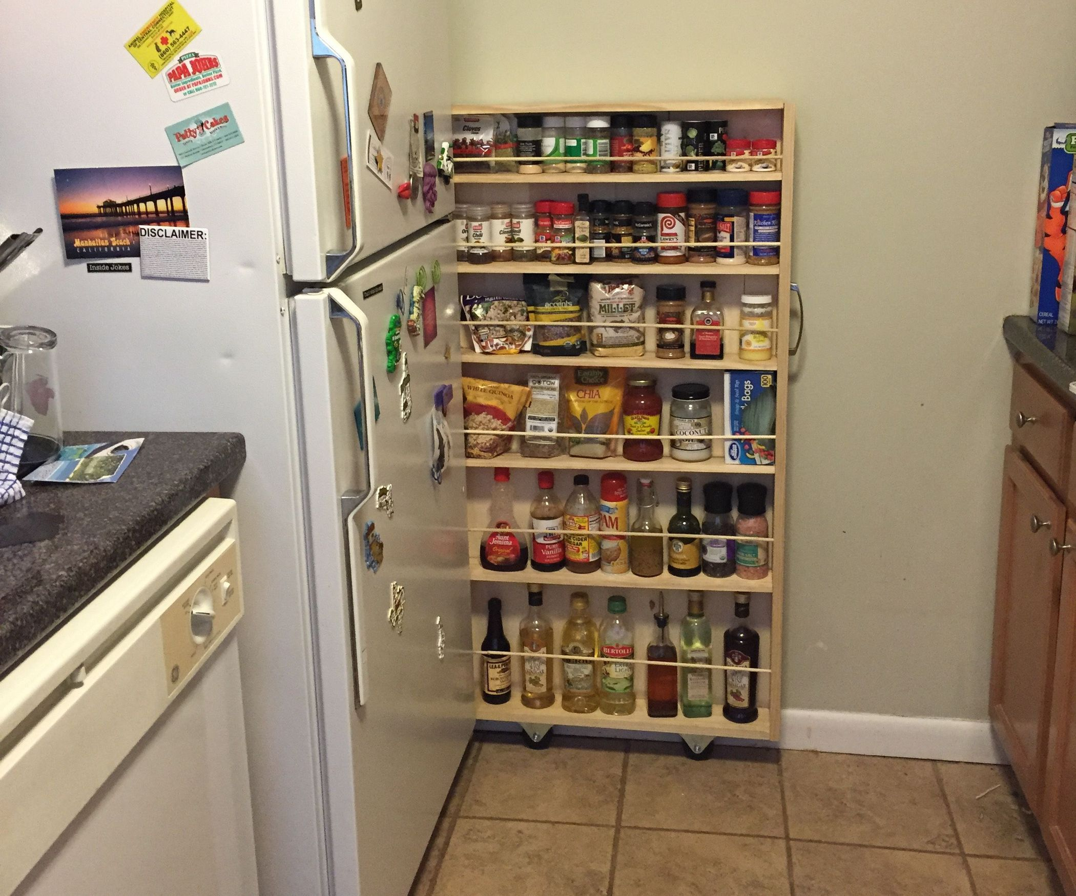 Hidden Fridge Gap Slide-Out Pantry | Small apartments, Pantry and ...