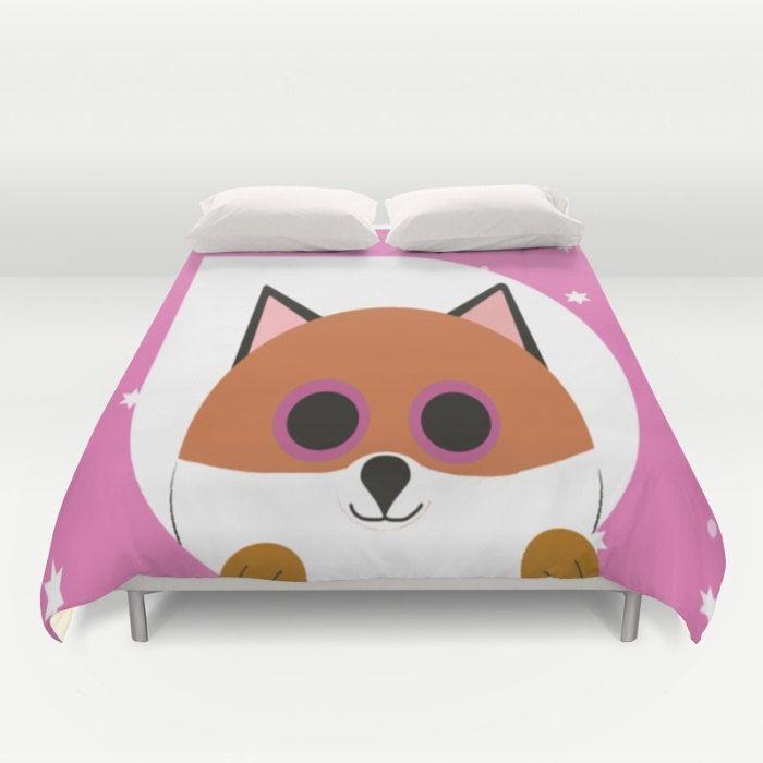 Fox Pink Duvet Cover Personalized Duvet Full Queen King Gift for her Him Bedding Bed Decor Modern Apartment Pink Duvet Children Duvet by xkbeth on Etsy