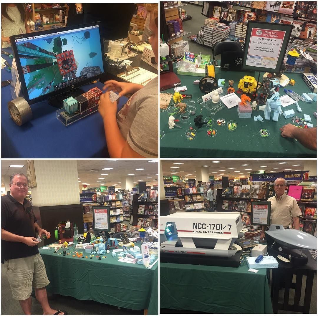 Something we loved from Instagram! Last day at @barnesandnoble #bnmakerfaire #make #makerfaire! We have the NFC real life #raspberrypi #minecraft @clumsyblasterspix #diy #robot builds and Roger's #startrek galileo ship by oahumakerspace Check us out http://bit.ly/1KyLetq