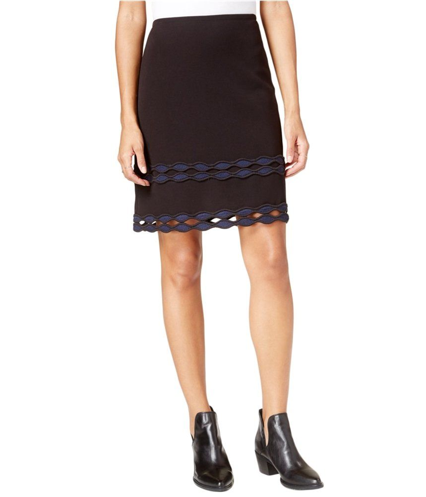 7eee86a4d7e Maison Jules Womens Cutout Knee Length Straight Skirt Black 10   Examine  this incredible product by