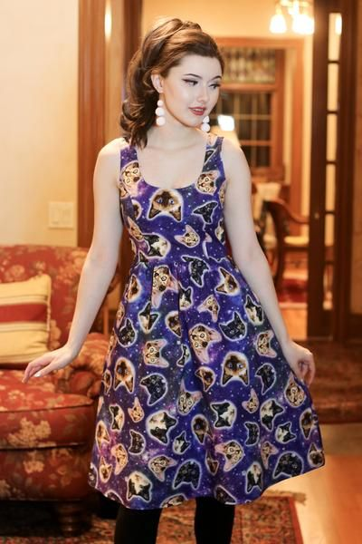 a919c9a96b6a8 3625 Galaxy Cats Dress cat dress