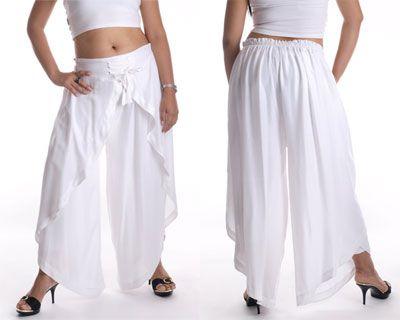 Hippie Baggy Harem Genie Belly Dance Rayon Wrap Pants - White ...