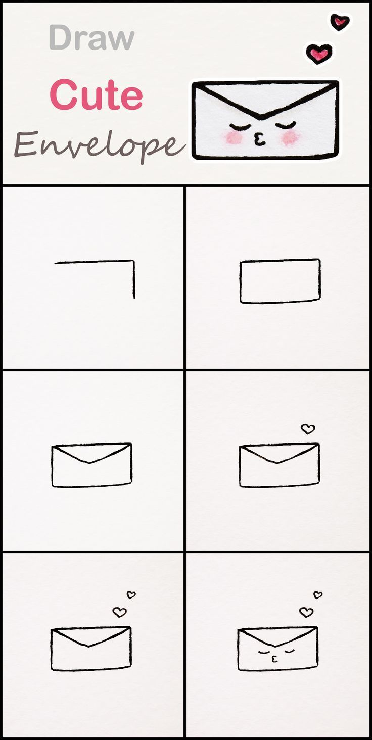 Learn how to draw a cute Envelope step by step ♥... - #Cute #Draw #Envelope #kawaii #Learn#cute #draw #envelope #kawaii #learn #step