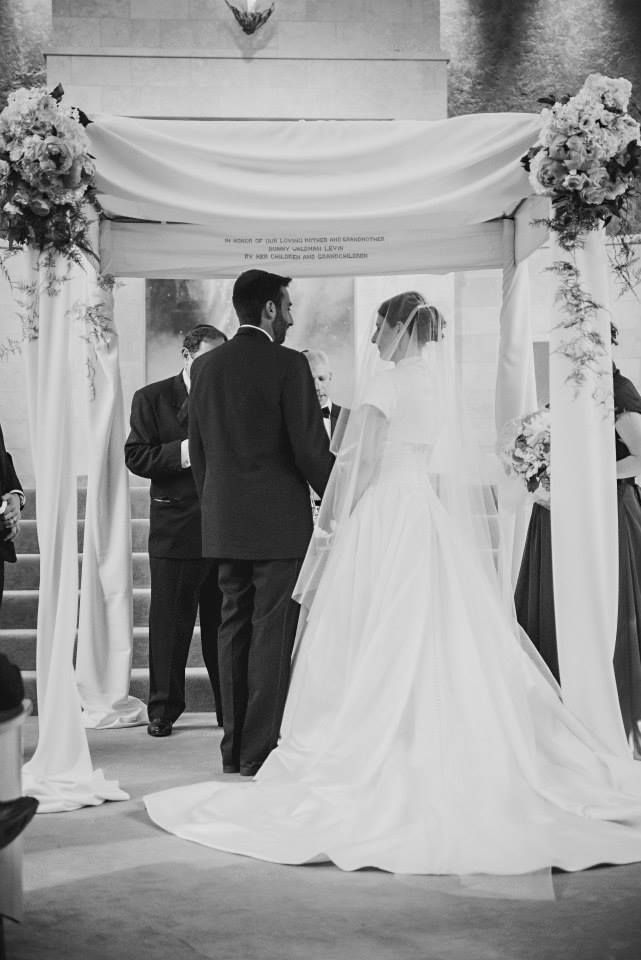 Jewish Wedding Under The Chuppah Bride Groom Cathedral Veil Train