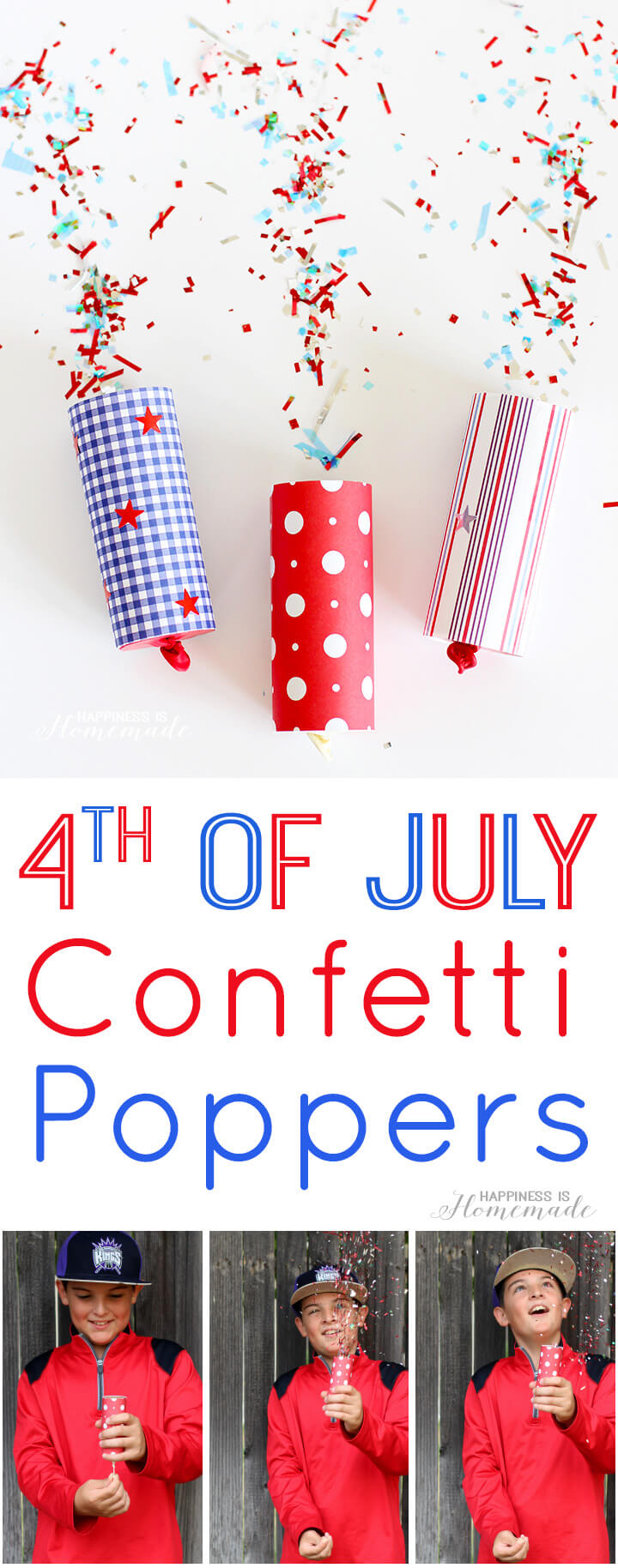 DIY Confetti Poppers for 4th of July - Happiness is Homemade