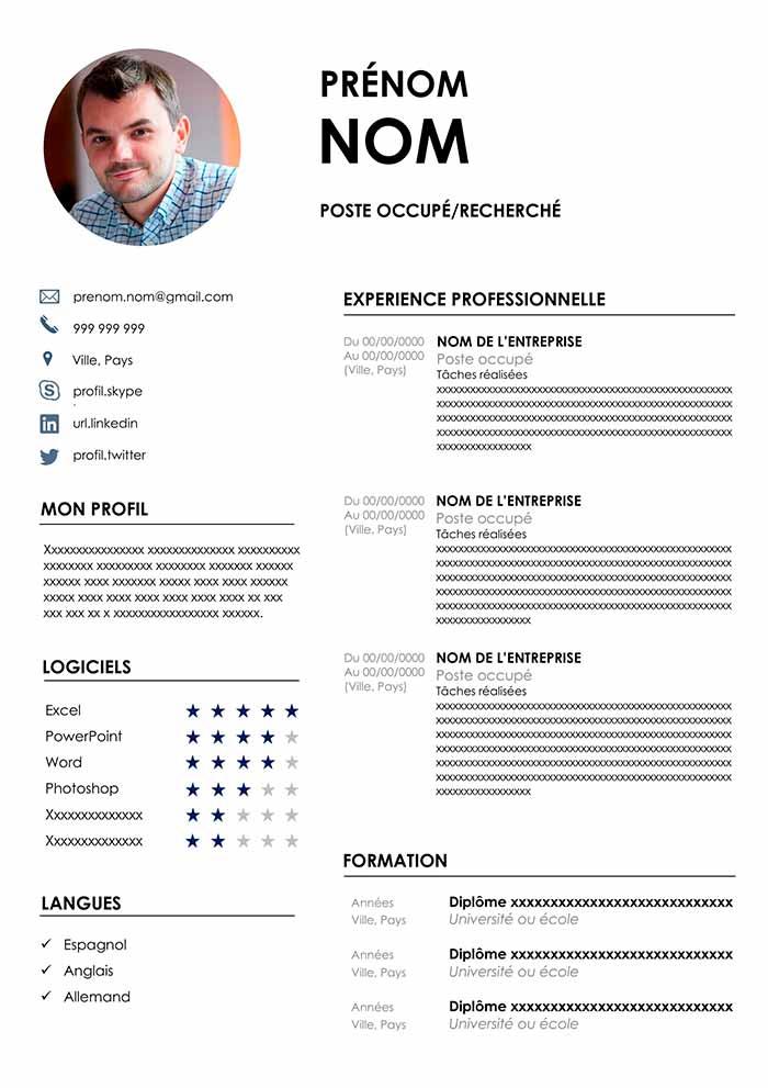 Exemple de CV avec Photo Gratuit à Télécharger