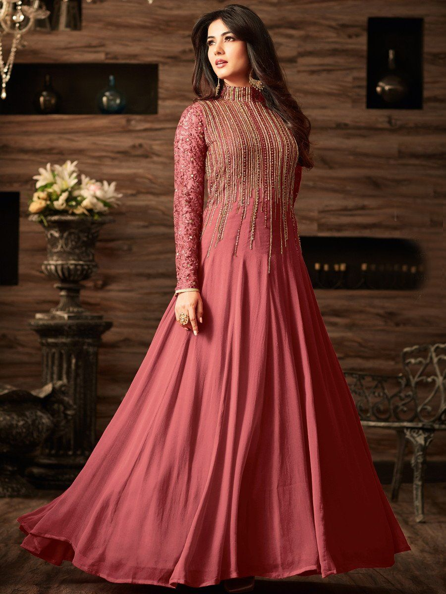 37cbdb494d Designer Partywear Wedding Embroidered Pink Net Abaya Style Semi-Stitched  Anarkali Dress By Takshaya. Sonal chauhan onion pink color net anarkali 4806