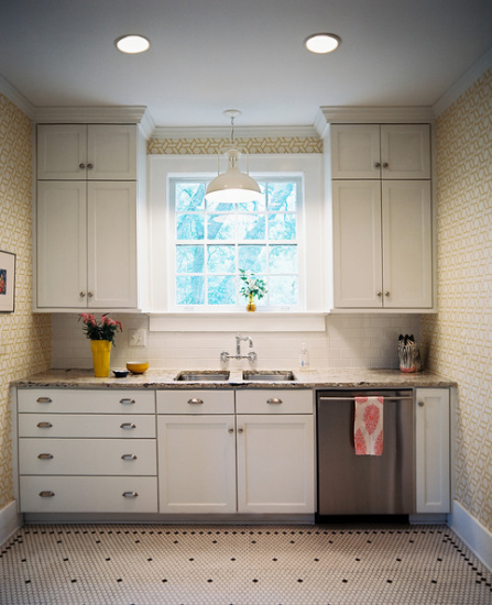 Pendant Light Above Sink - Patterned wallpaper, white cabinets, and ...