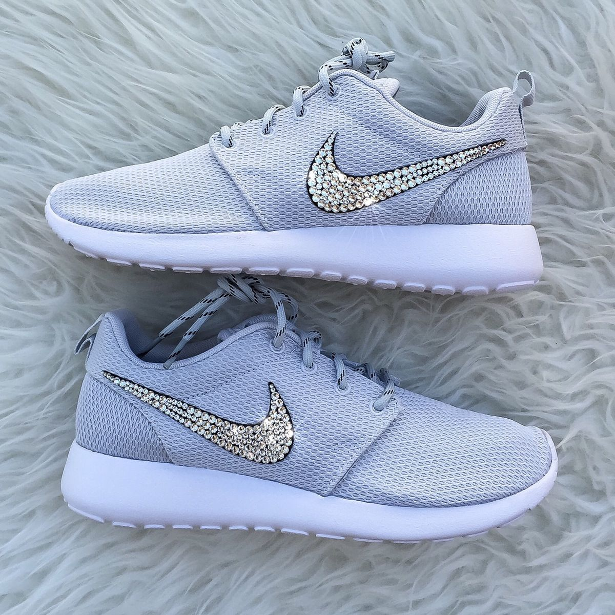 452c0272ba911 Nike Roshe with Swarovski Rhinestones.  NIKE ROSHES TEND TO RUN TRUE TO SIZE   - Crystals on outside Nike swoosh only - Due to the fact ev.