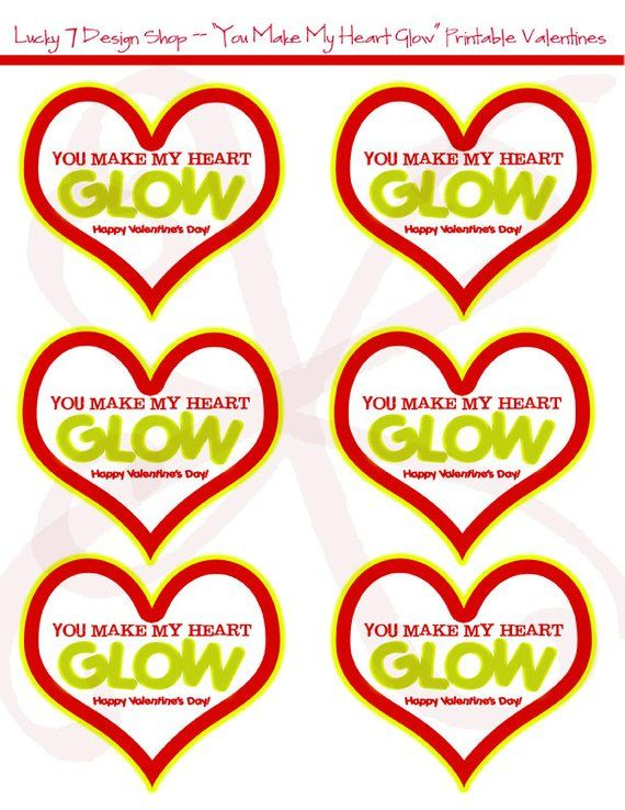photograph about You Make My Heart Glow Printable identified as Valentine \