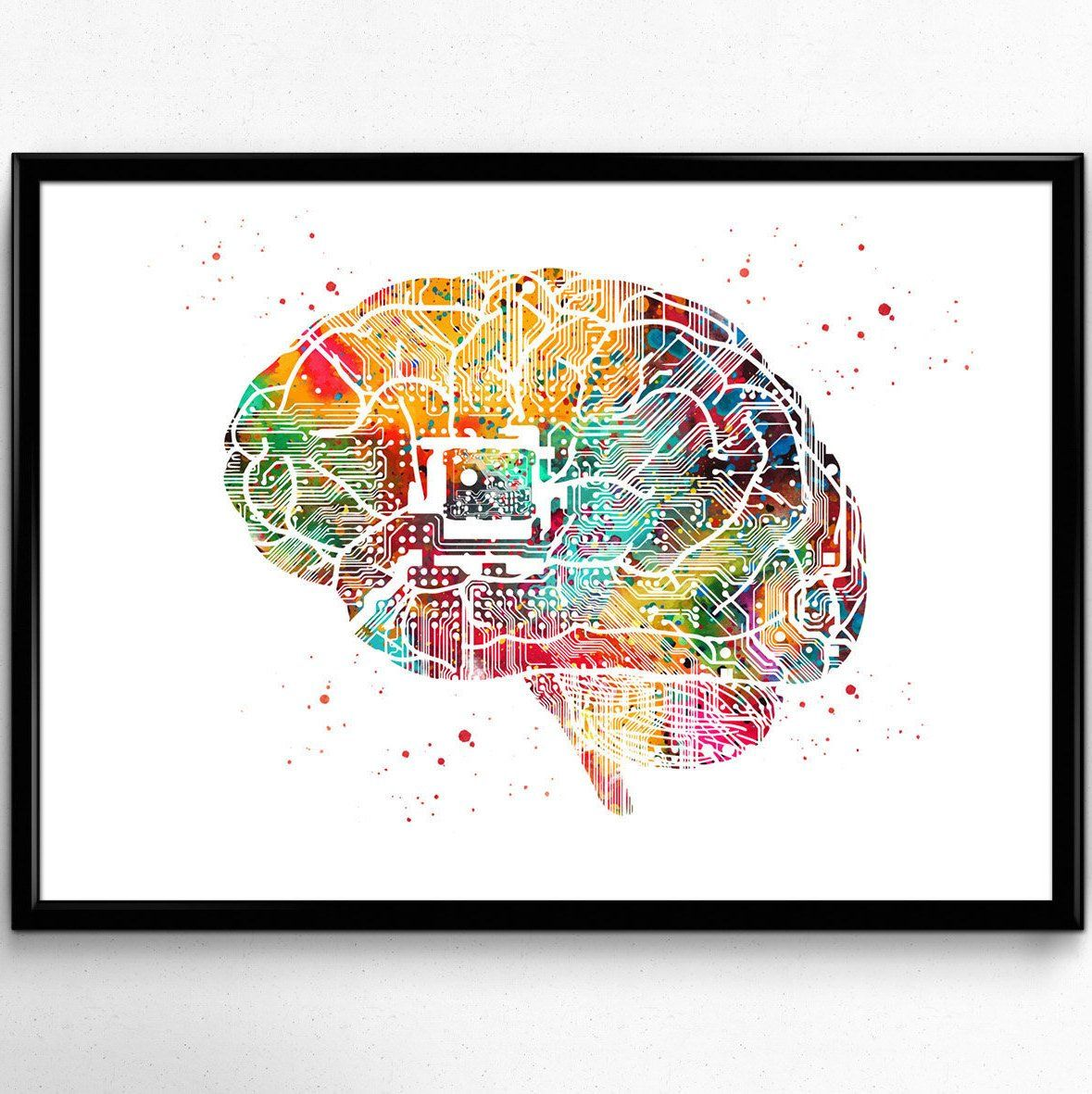 Circuit Brain Watercolor Print Computer Science Art Electronic Brain With Chips Poster Science Art Print Wall D Watercolor Print Science Art Diy Prints