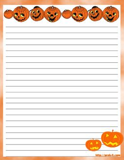 Scary Halloween Witch And Owl Regular Lined Writing PaperFree