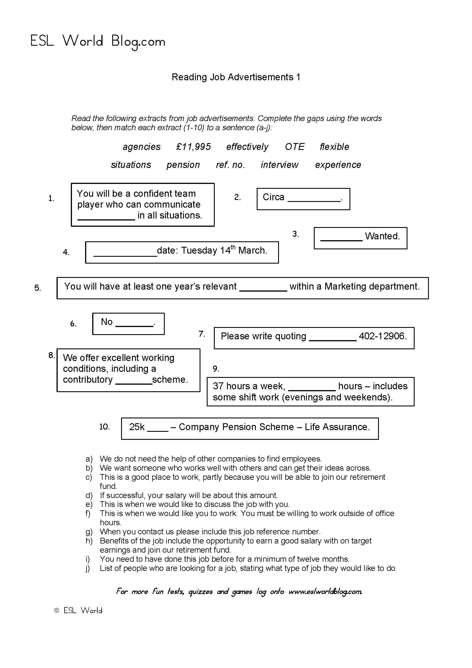 Reading Job Advertisements Activity Sheets A Quick Printable Esl Activity To Help Learners Read