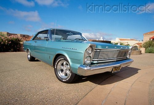 1965 Ford Galaxie 500 Turquoise Low 3 4 Front View On Pavement