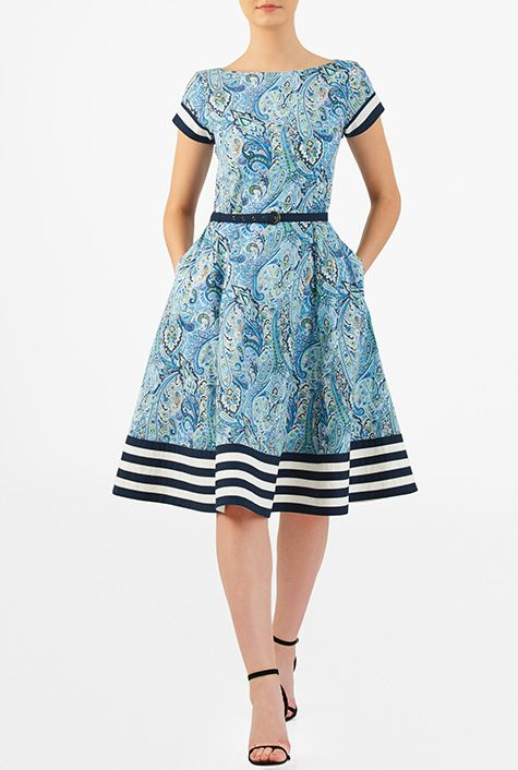 I <3 this Banded stripe hem belted cotton print dress from eShakti