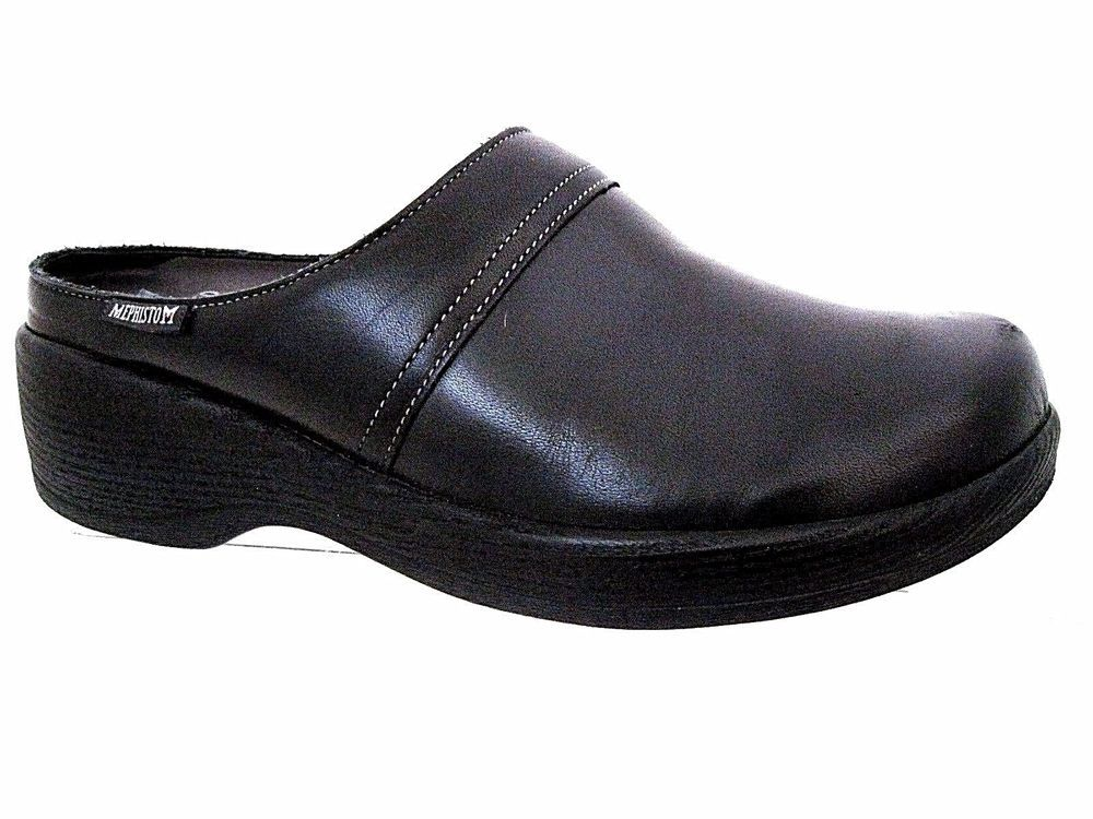 68e167531ad MEPHISTO Air-Relax Black Leather Slide Mules
