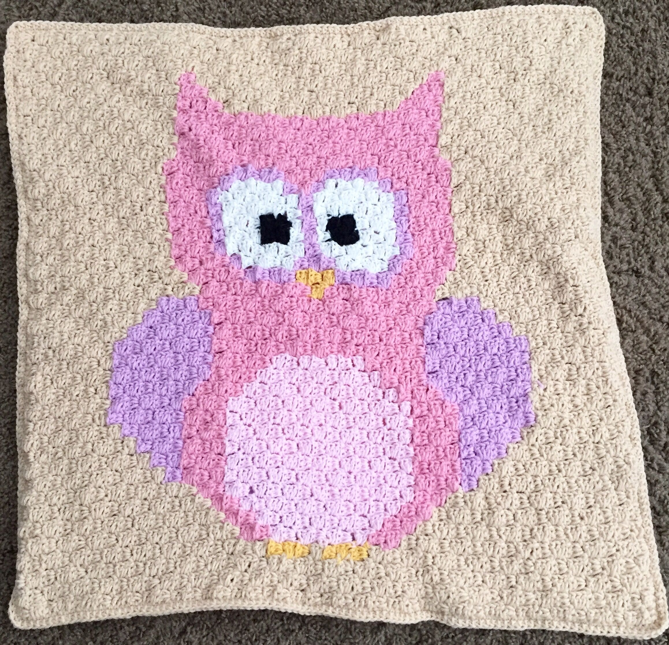 Free Pattern Baby Owl Corner To Corner Blanket Crochet Baby Owl